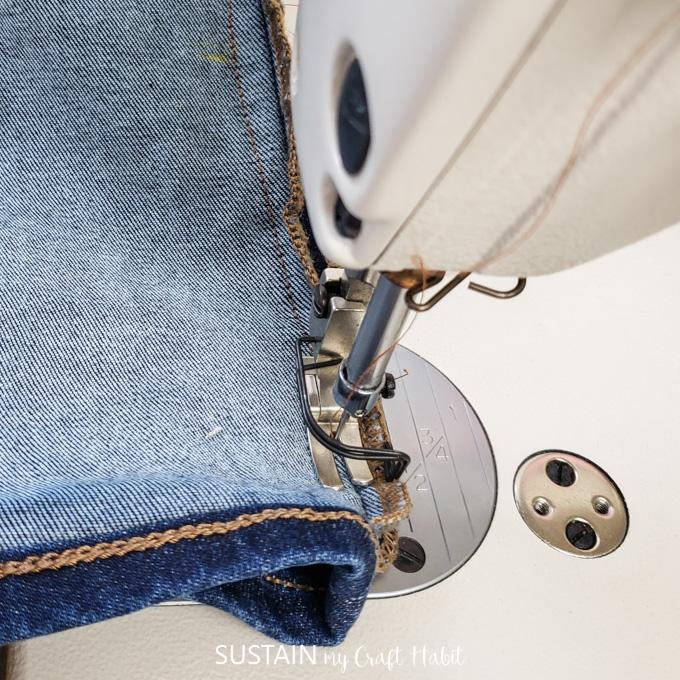 reduce leg width for tapered leg jeans