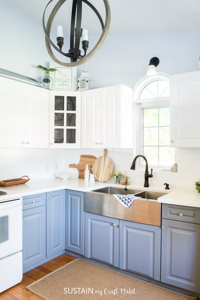Newly renovated modern coastal kitchen with two-tone cabinets