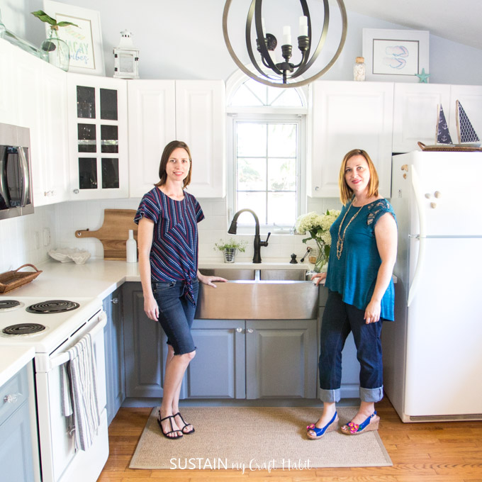 Jane and Sonja from Sustain My Craft Habit standing in their coastal cottage kitchen