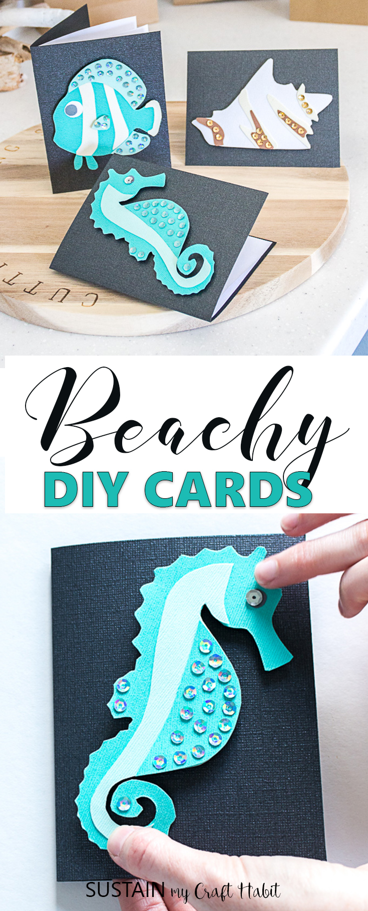Adorable handmade beach-themed DIY cards perfect for any occasion