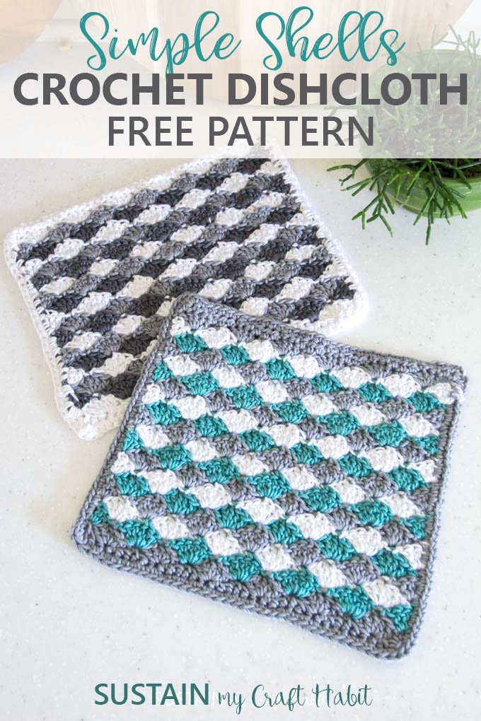 Simple Shells easy crochet dishcloth pattern. A lovely accent for a farmhouse style kitchen or as a gift idea.