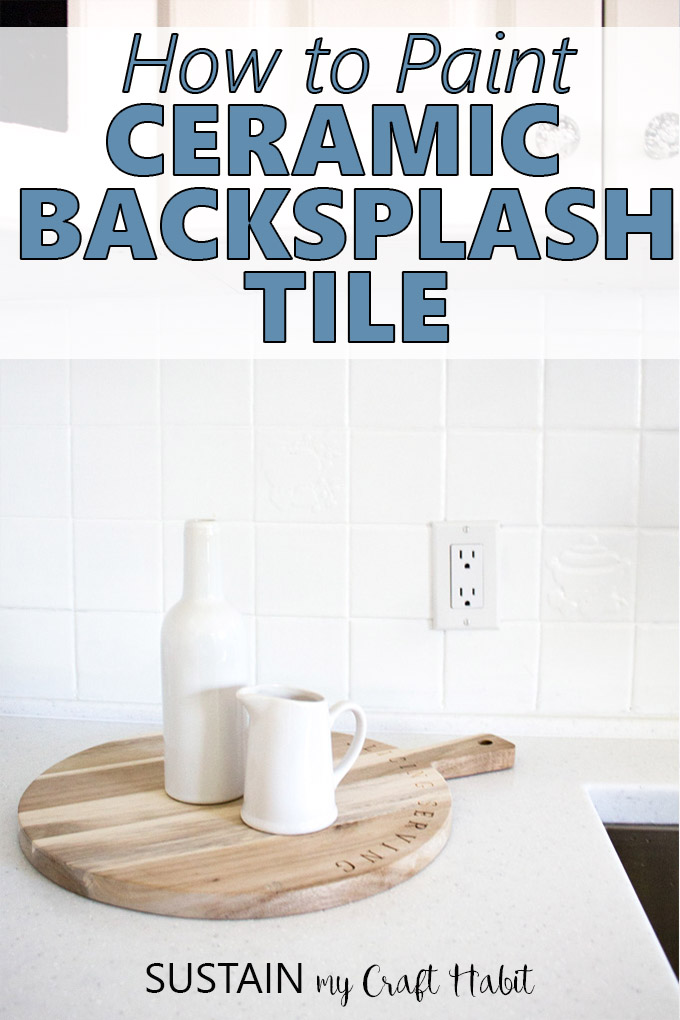 Farmhouse style accessories in an all-white kitchen include white painted tile blacksplash