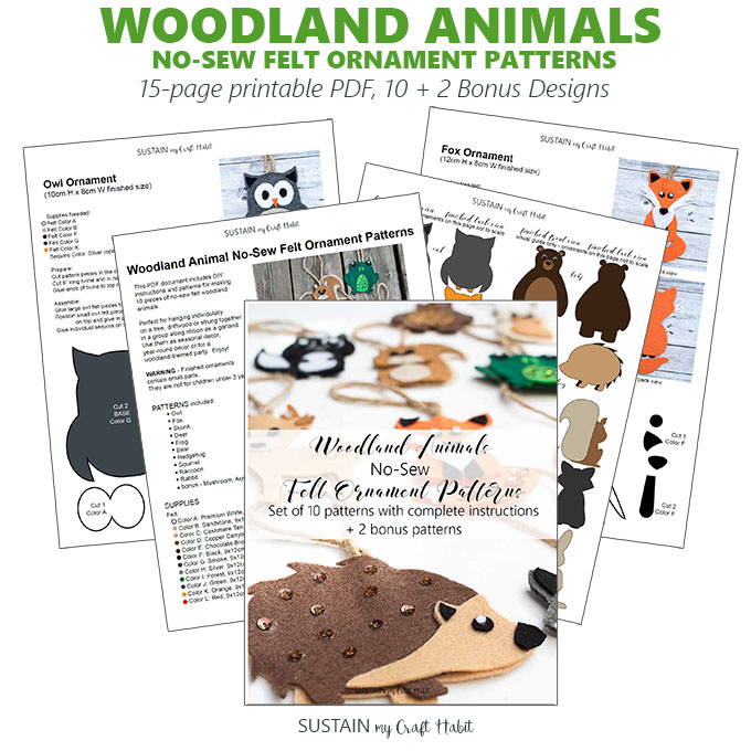 Woodland felt ornament pattern kit