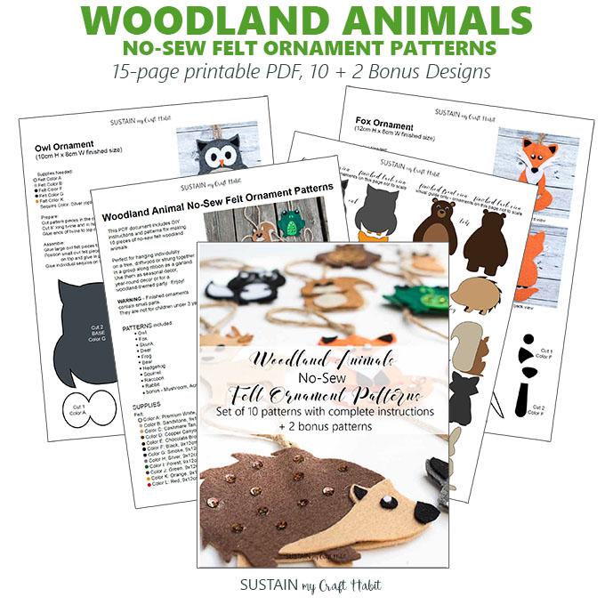 Woodland felt ornament pattern kit