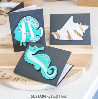 Seahorse, clownfish and conch diy cards