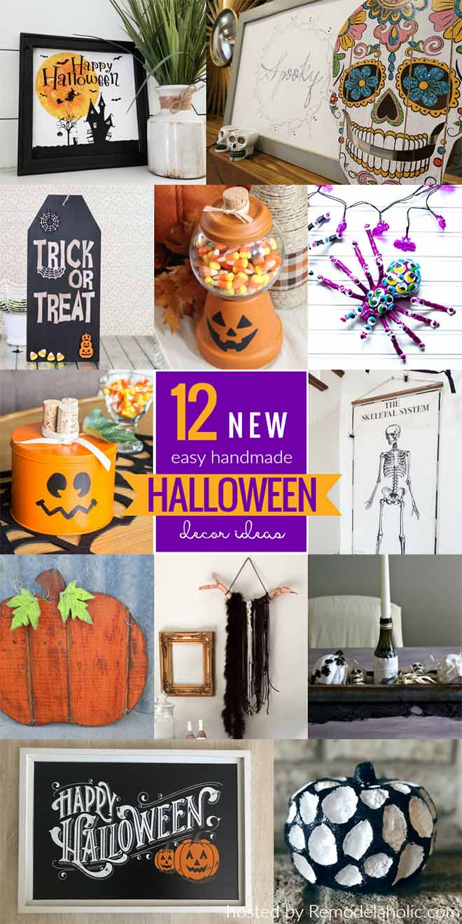 Collage of a dozen creative halloween decorating ideas