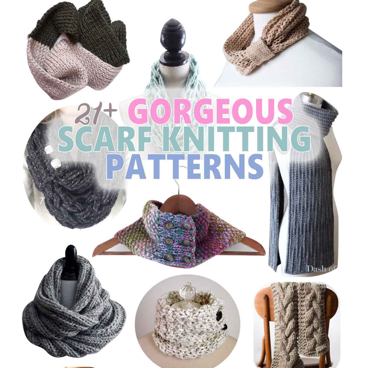 Collage of images showing some of the best scarf knitting patterns around