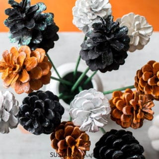 Making Pine Cone Flowers for Halloween