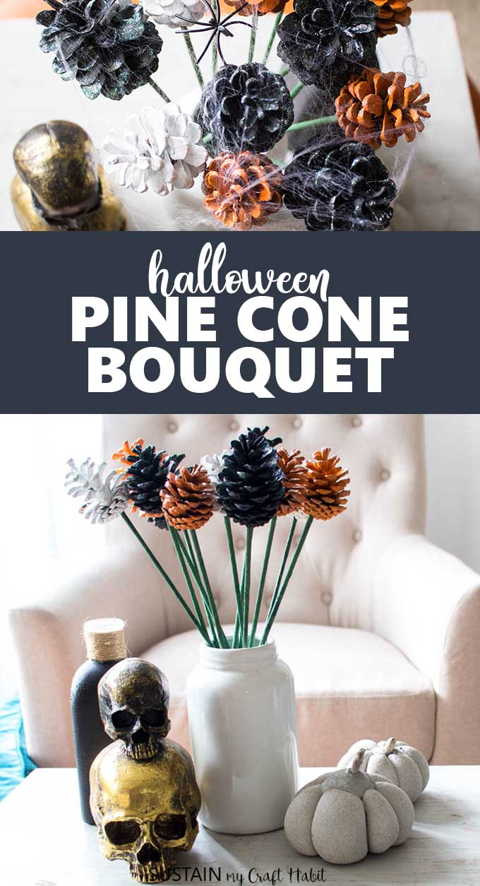 Pine cone fowers in a white farmhouse style vase