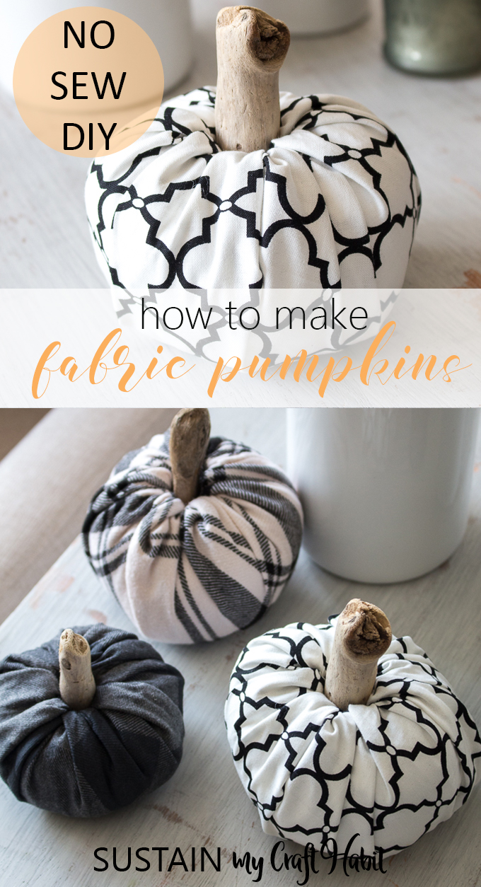 Collage of images showing final no-sew fabric pumpkins in neutral fall flannel patterns.