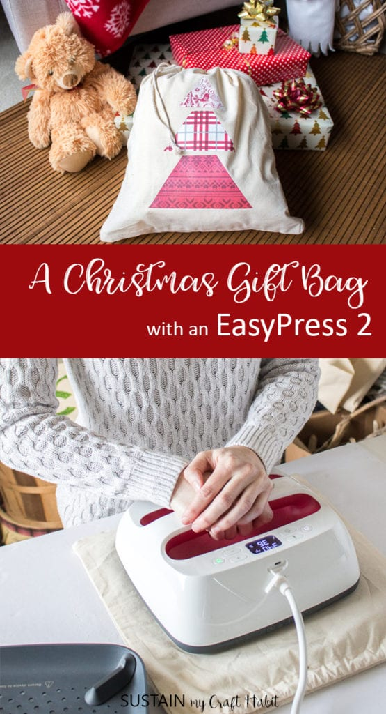 Christmas gift bag with a Cricut EasyPress 2