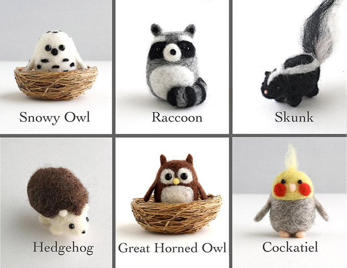 Animal felting kits to make a raccoon, owl, skunk, cockateil and more