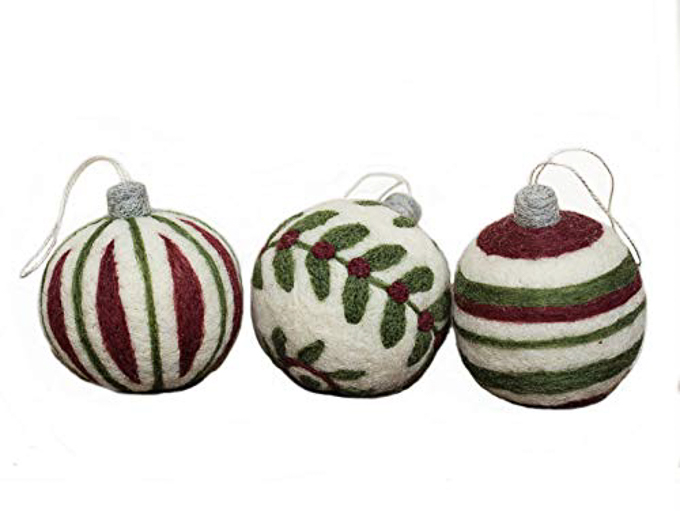 Vintage-inspired Christmas ornaments made from burgundy, green and white felted wool