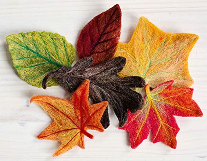 Multi-colored leaf shapes felt appliques kit to make