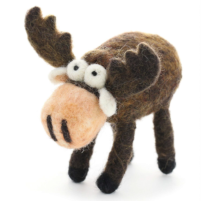 Adorable needle felted moose on a white background