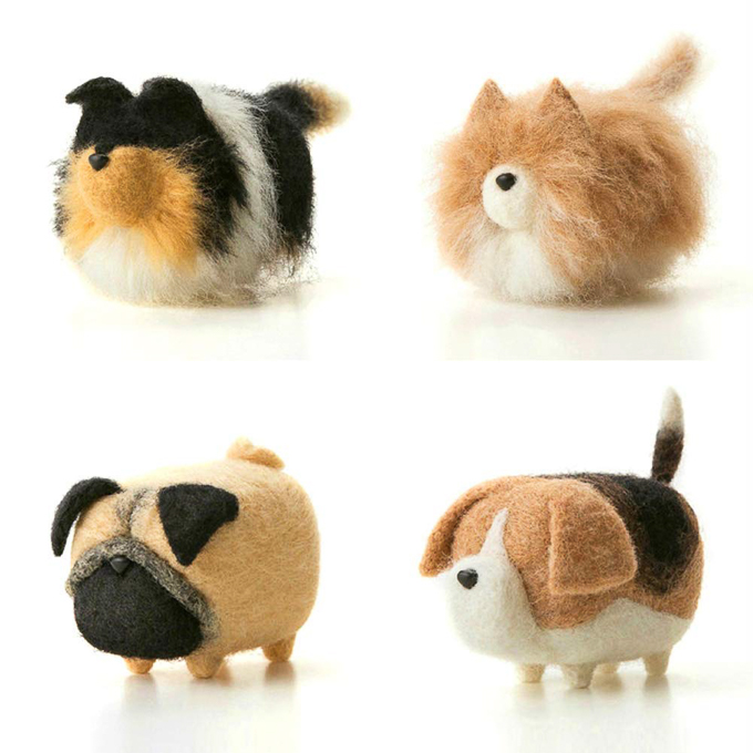 Felting kit to make four completely adorable dogs