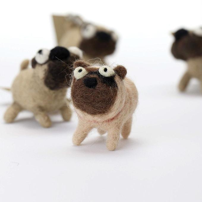 Silly pug dogs needle felting kit