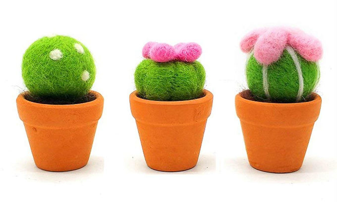 Three felted cacti succulents with pink flowers in clay terra cotta pots