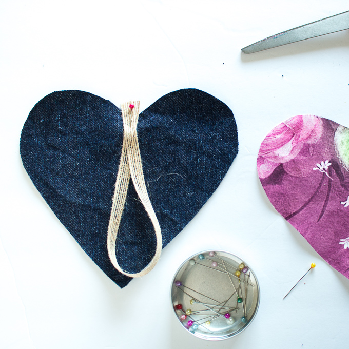 heart garland with fabric scraps