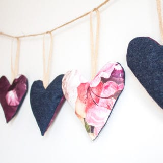 heart garland with scrap fabric