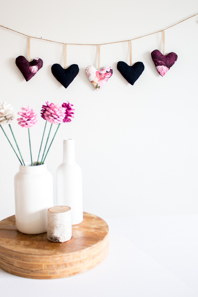 heart garland using scrap fabric