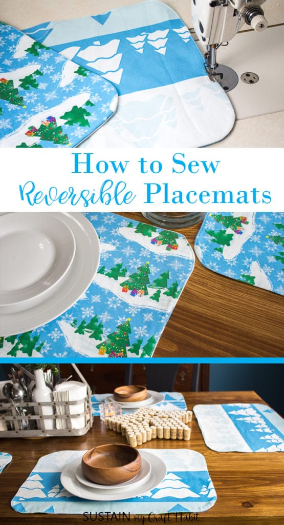 A collage of images showing how to make placemats that are reversible