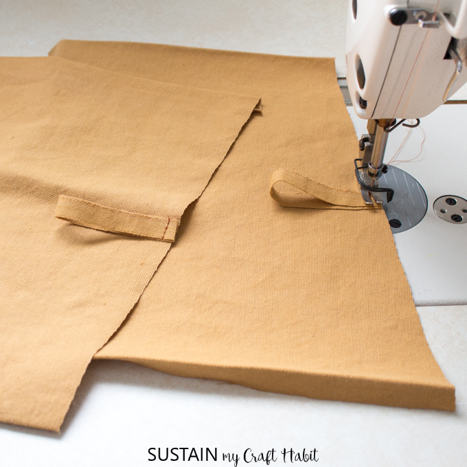 Adding button loops on a DIY apron pattern