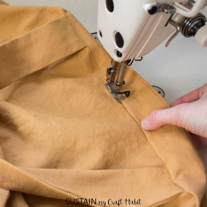 Sewing the understitch for the DIY apron sewing pattern