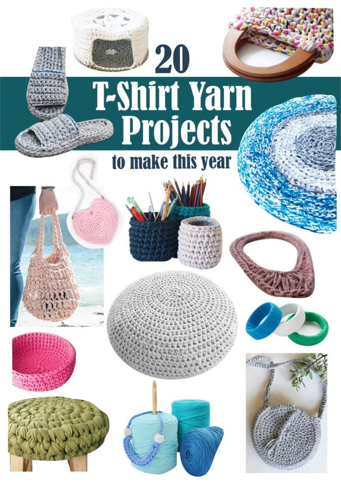 Collage image of 20 different tshirt yarn projects to make including baskets, jewelry, bags, rugs and more