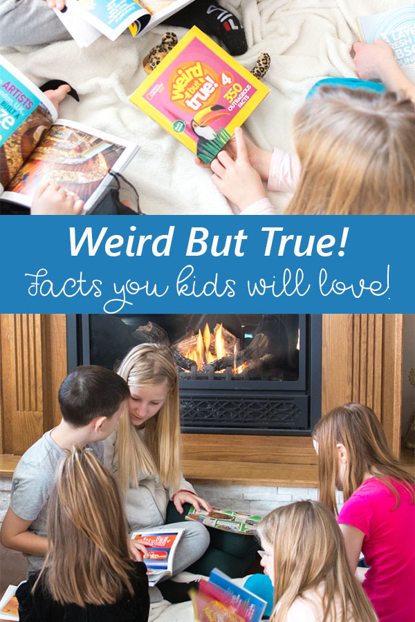 Collage of children reading Weird but True facts from the National Geographic Kids series.