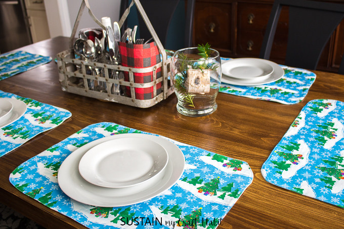 Learn how to sew DIY place mats for a Christmas tablescape