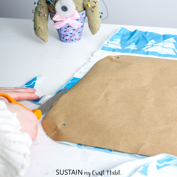 Cutting printed fabric from CanvasEtc to make DIY placemats