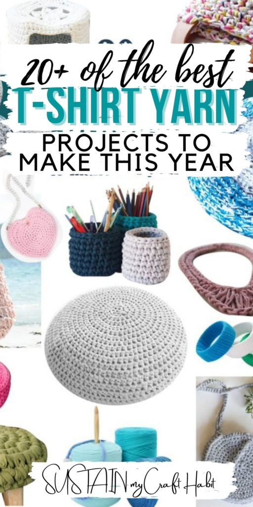Collage of the best projects to make with t-shirt yarn