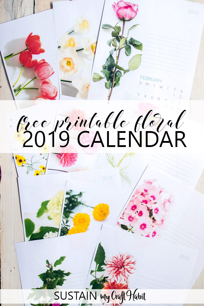 Free 2019 monthly printable calendar with flowers