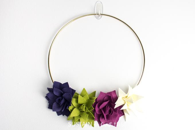 diy felt succulent wreath