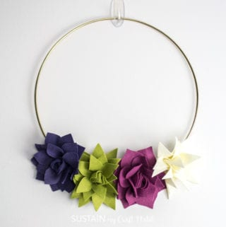 how to make a felt succulent wreath