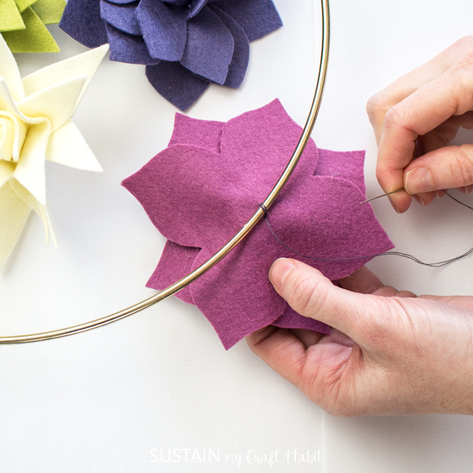 DIY felt succulent wreath