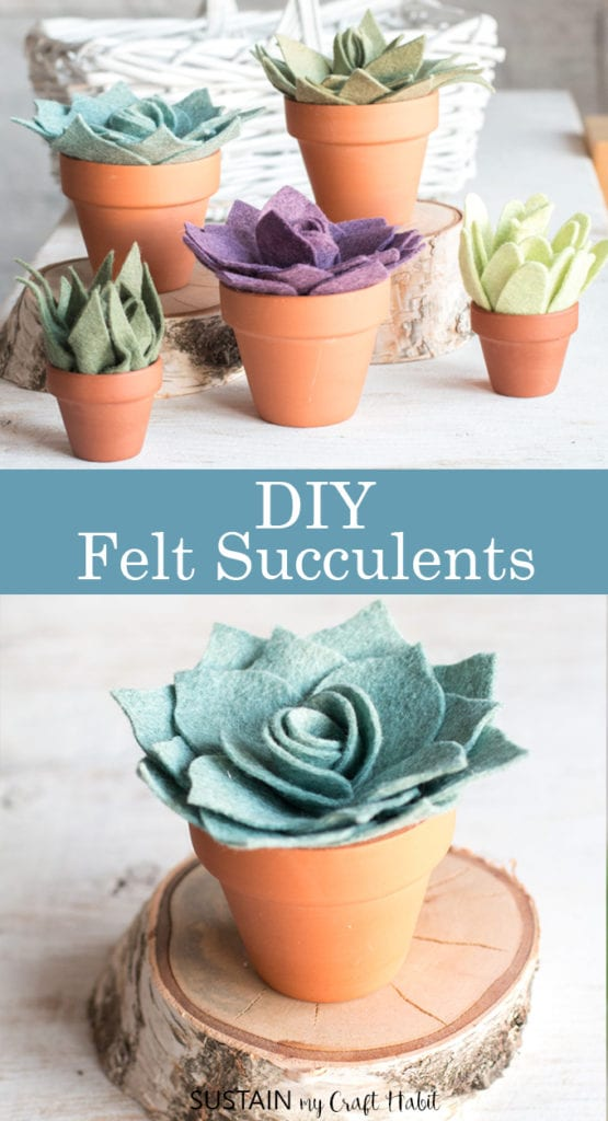 diy potted felt succulents