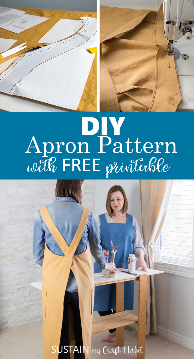 Collage of images for a DIY apron pattern project