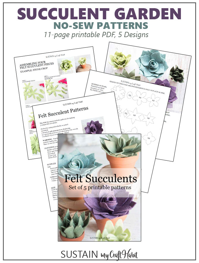 Graphic image of pages included in printable succulent pattern download