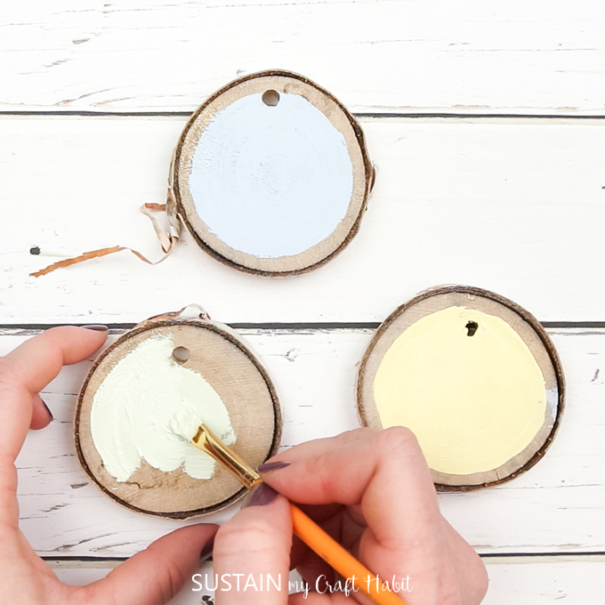 Making Hand Lettered Wood slices as Easter ornaments