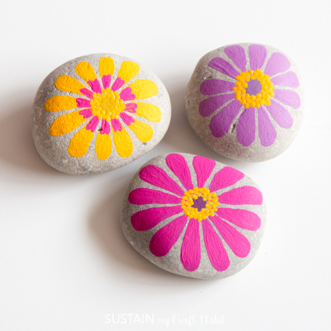 painted flower rocks