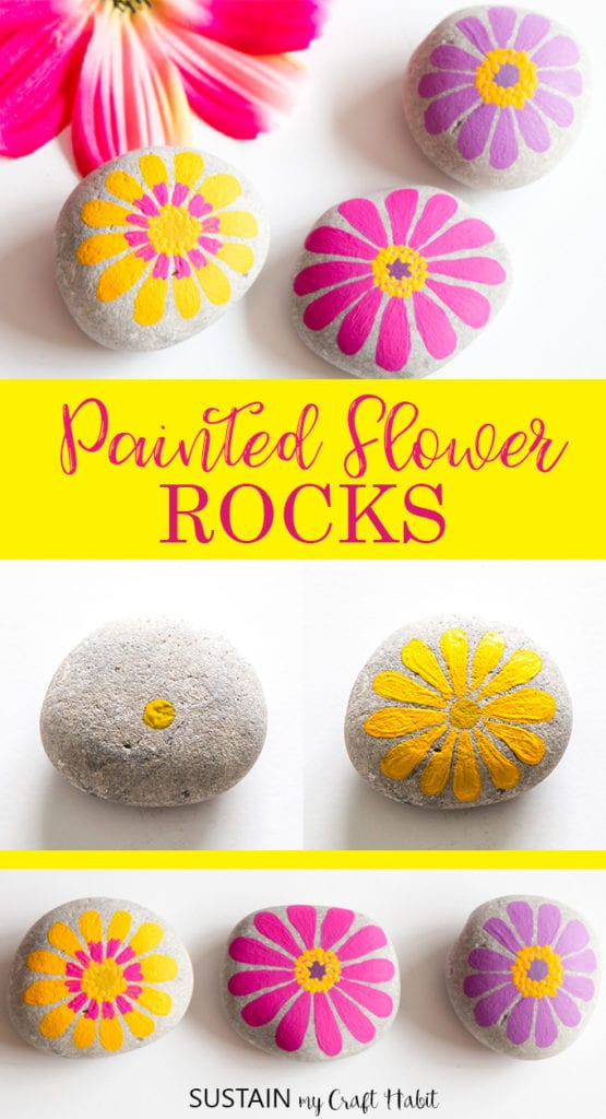 Collage of flower painted rocks including yellow, pink and purple painted zinnias