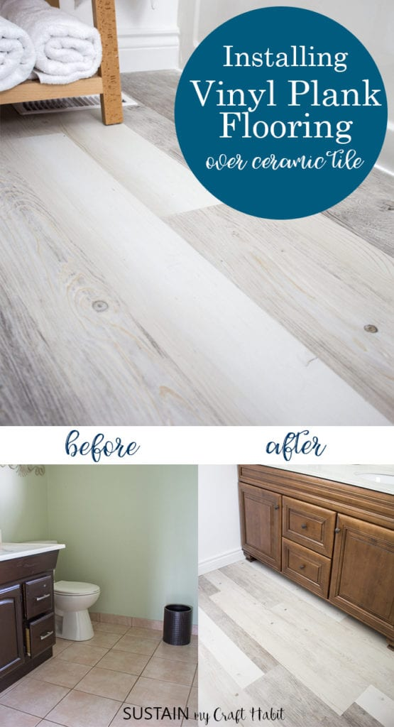 Collage of images demonstrating the process of installing vinyl plank flooring