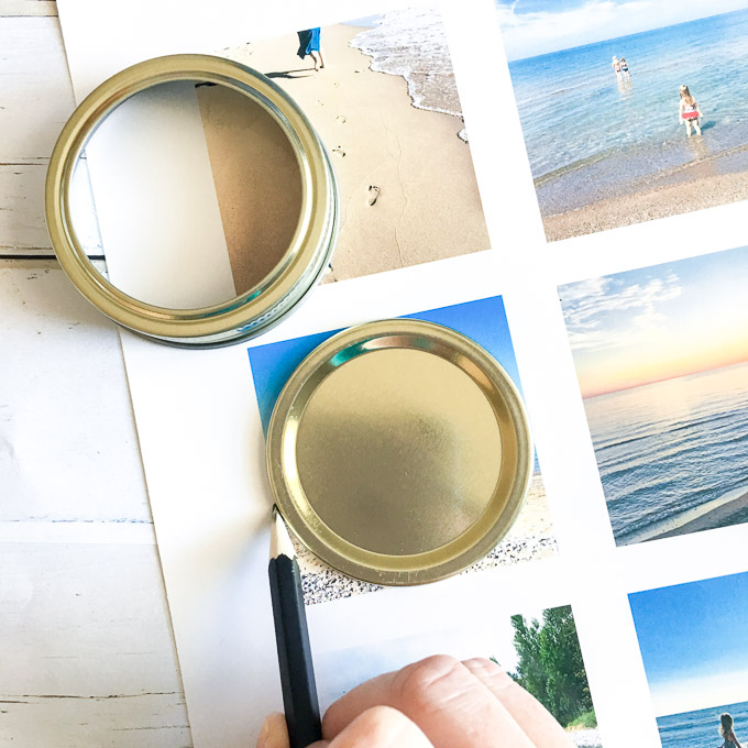 Using a canning jar lid to trace a circle onto a vacation photo