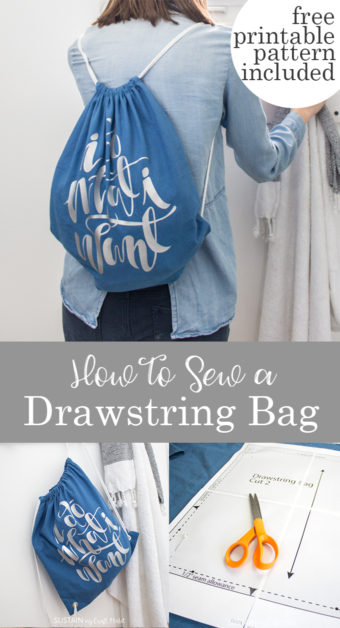 Collage of images showing how to sew a drawstring bag.