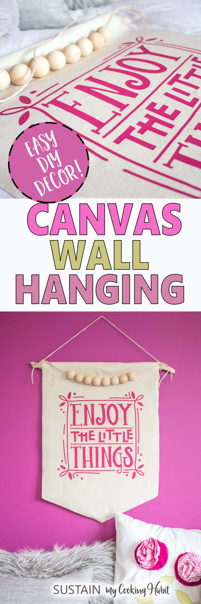 Collage of images showing elements of the DIY canvas wall hanging with iron-on vinyl.