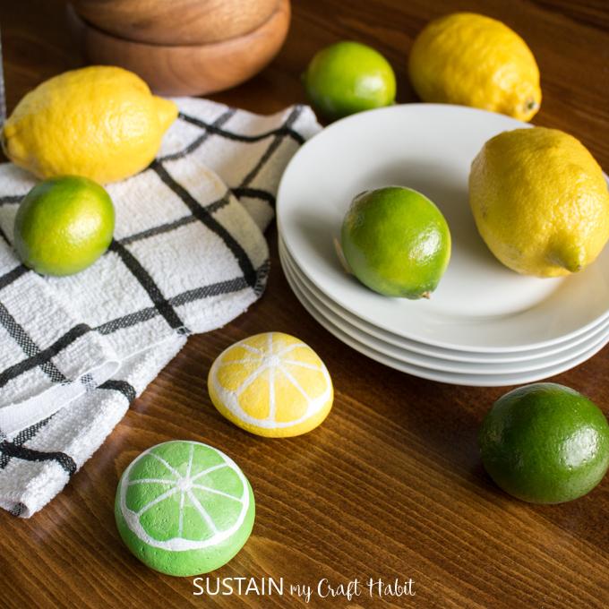 lemon and lime painted rocks