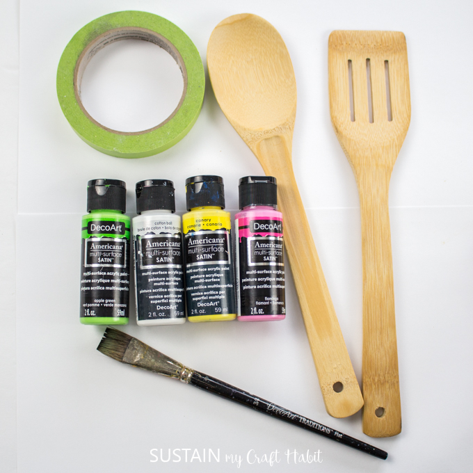 DIY painted wooden salad tongs