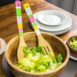 diy colourfully painted wooden salad tongs
